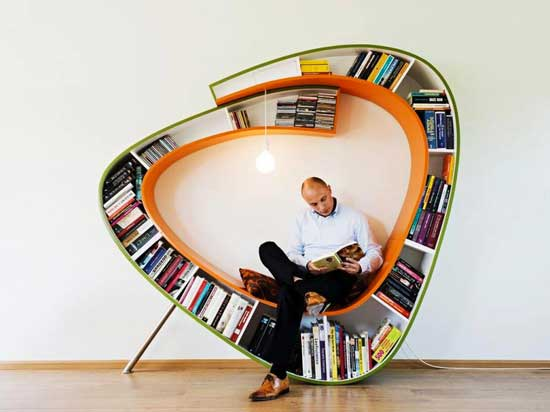 Bench filled with books