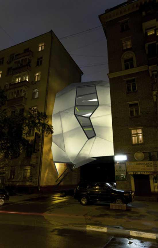 stylish designed white house in the city