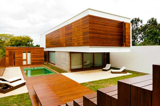 exterior view of a home with wood facade