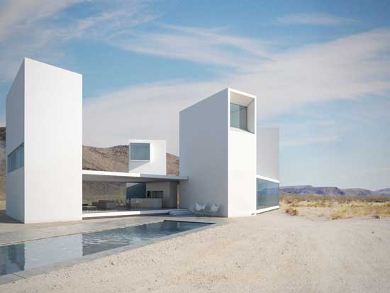 exterior view of a white home and pool