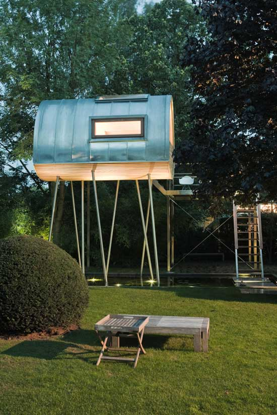 exterior view of a home on metal legs