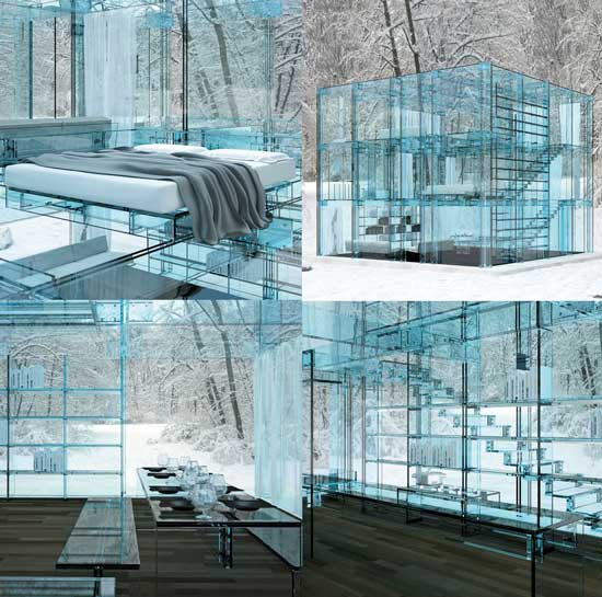 exterior view of glass home in winter