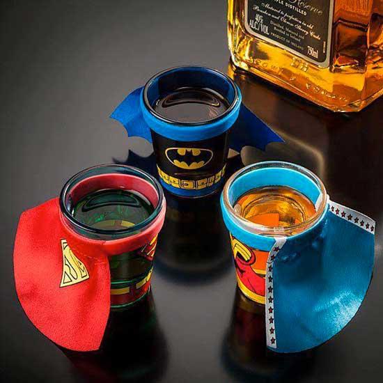 Jack Daniels batman superman themed cups