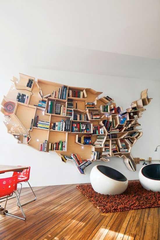 USA map bookshelf