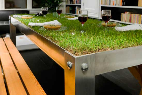 grass covered dining table