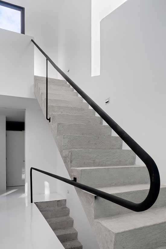 minimal interior design white stairs