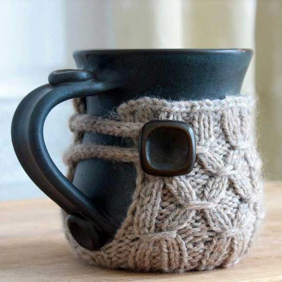 knitted dressed coffee cup