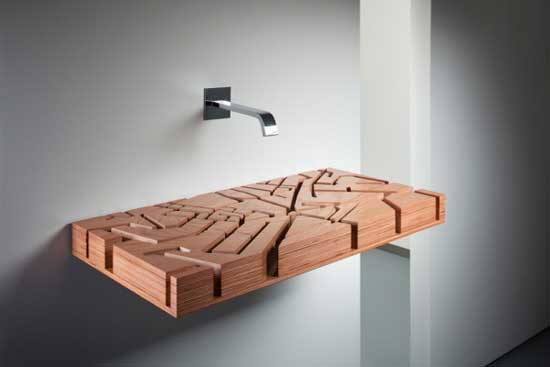 labyrinth wooden sink creative design