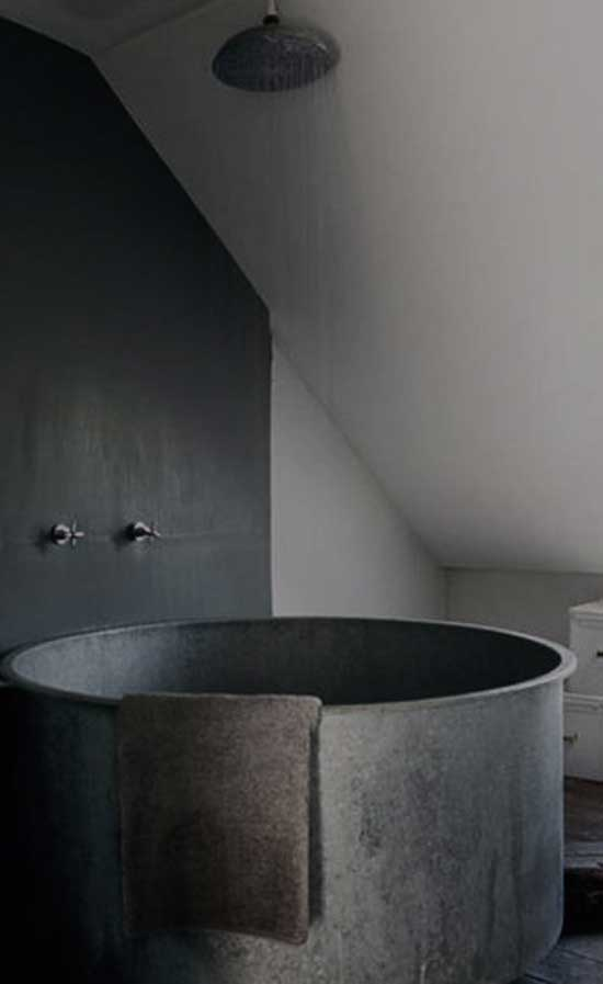 metal gray tub in gray bathroom minimal bathroom shower design - Minimal Bathroom Designs