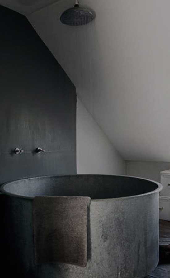 metal gray tub in gray bathroom minimal bathroom shower design - Minimal Bathroom Designs