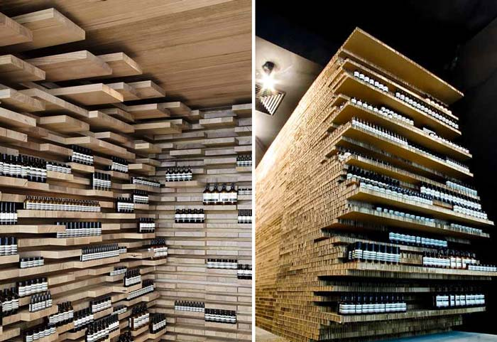 Interior of a store in Paris with wooden shelves