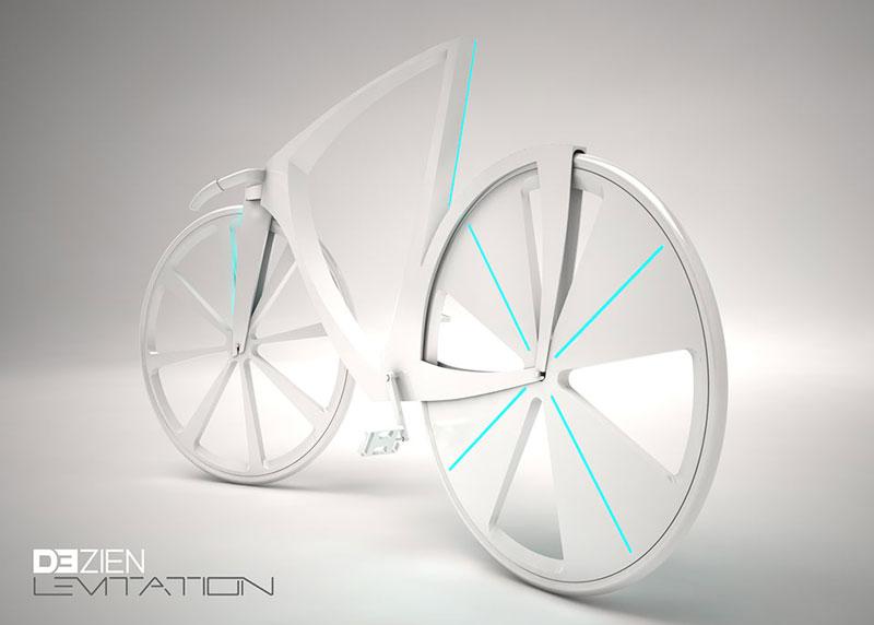 White Levitation concept bike front side view
