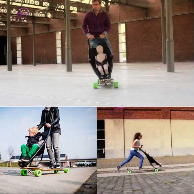 Longboard Stroller in motion