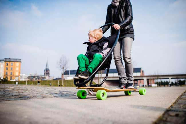 Longboard Stroller with child onboard