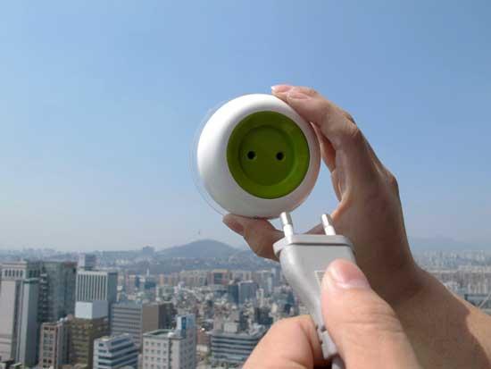 Solar Energy Powered Socket by Kyuho Song & Boa Oh mounted on window