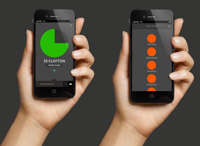 2 iPhones running the August Smart Lock application