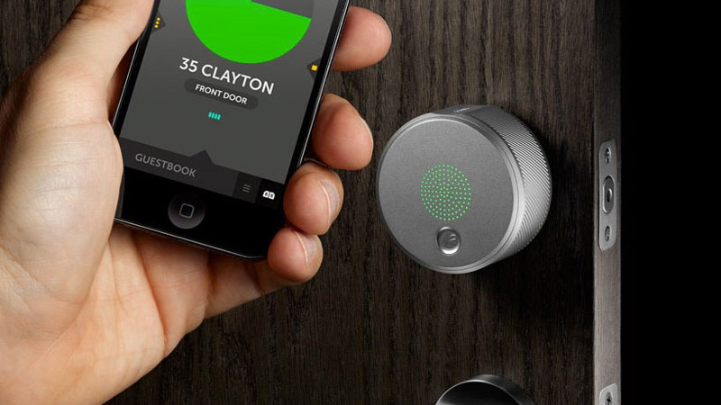 August Smart Lock being opened by the iPhone application