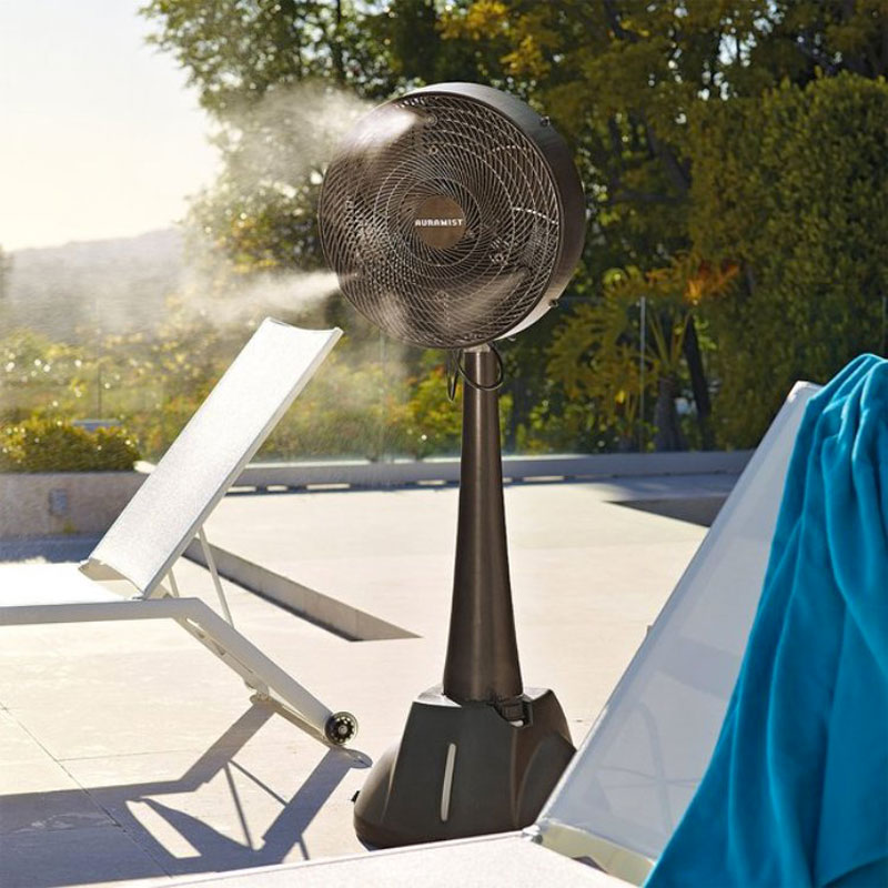 Pool Side Misting Fans : Hoseless portable dry mist fan by auramist
