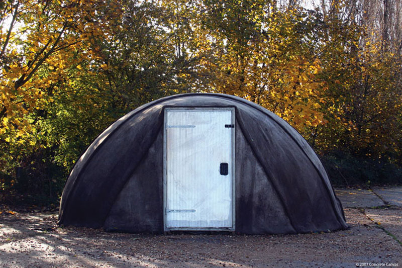 Exterior front view of the Concrete Canvas Shelter