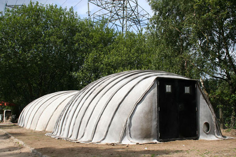 Exterior of the Concrete Canvas Shelter
