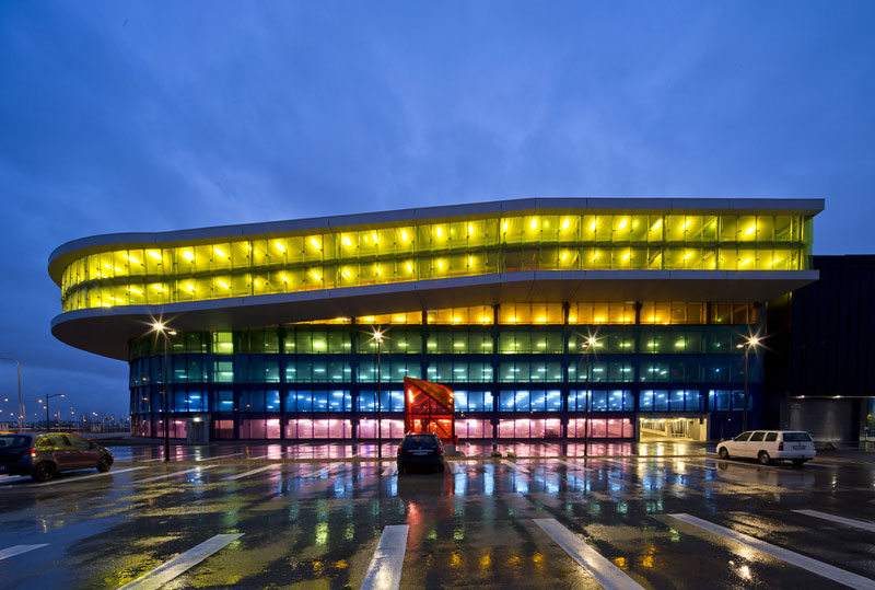 Exterior architecture of a colorful garage at Emporia shopping center in Malmo