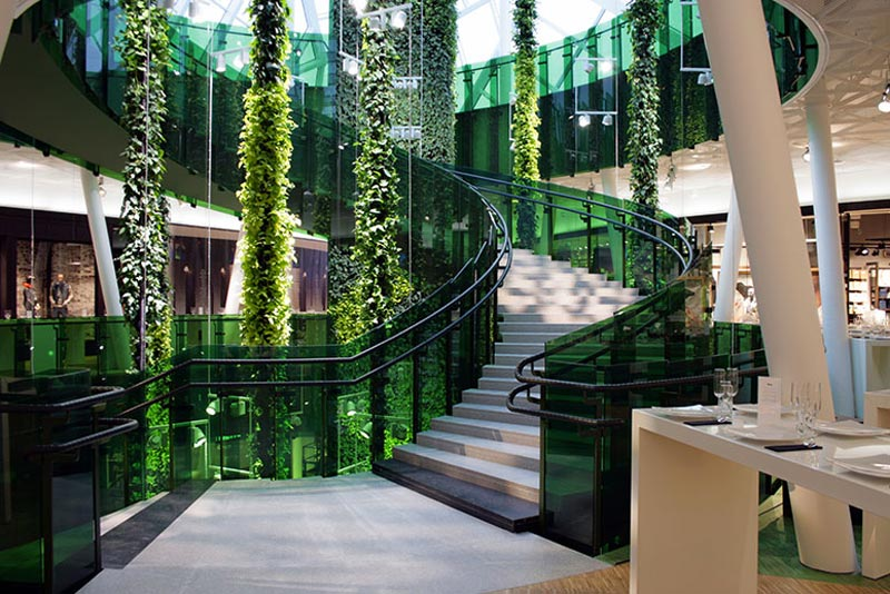hanging plants at Emporia shopping center in Malmo, Sweden