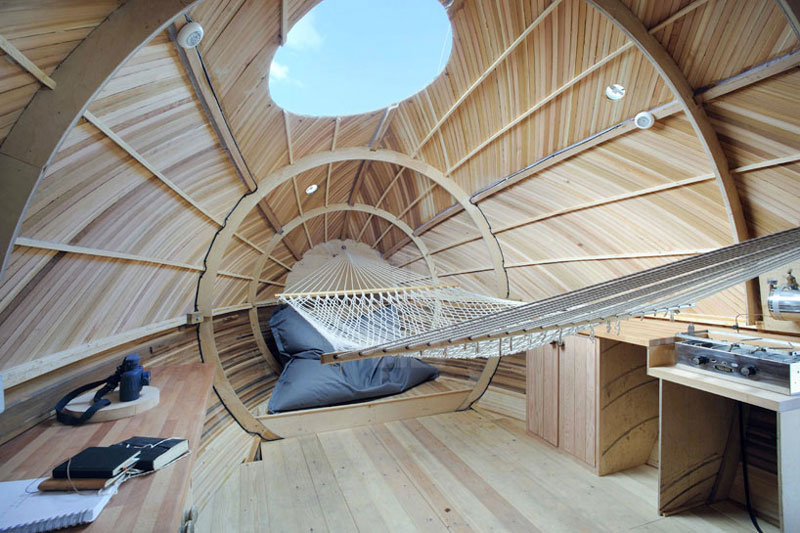 interior view of the front of the Exburry Egg with wooden wall panel and skylight