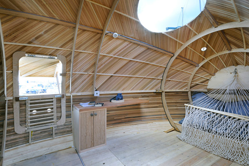 interior view of the Exburry Egg with wooden wall panel and windows