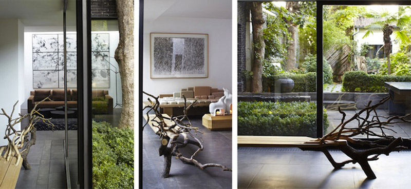 """3 different views of the """"Fallen Tree"""" bench by Benjamin Graindorge in a room"""