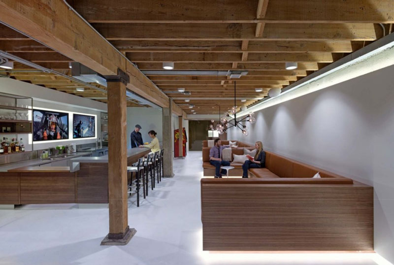 Dining area at the Giant Pixel headquarters in San Francisco designed by Studio O+A