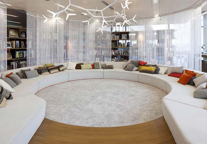 white lounge at Google's London Offices