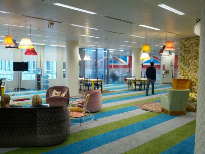 lounge area at Google's London Offices