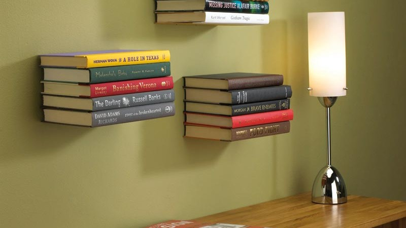 3 conceal floating bookshelves on the wall