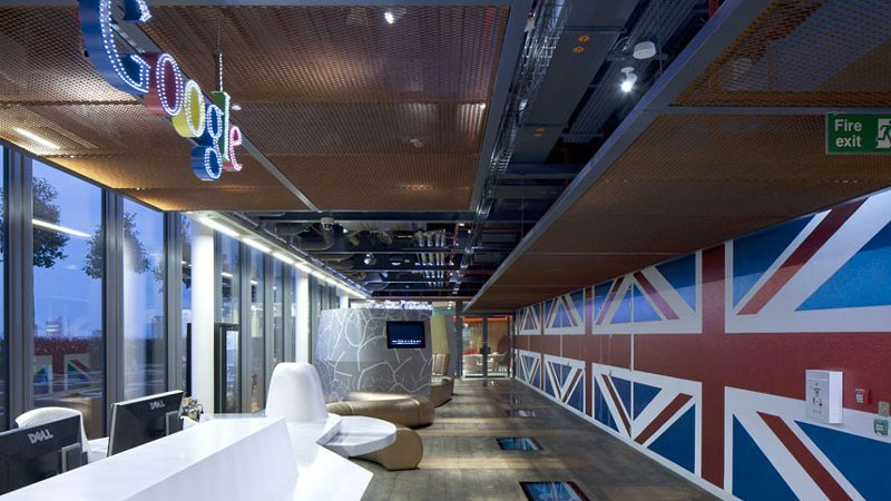 Google Logo and the Union Jack at Google's London Offices by Penson