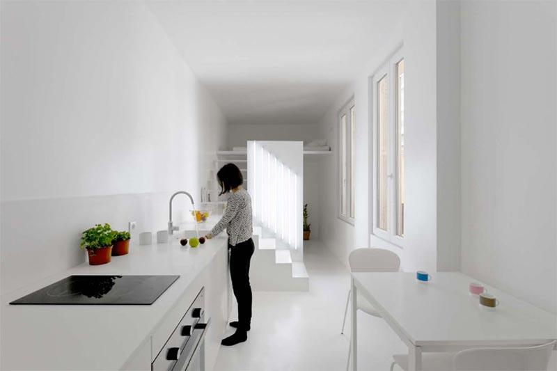 Kitchen in a micro studio apartment in Paris