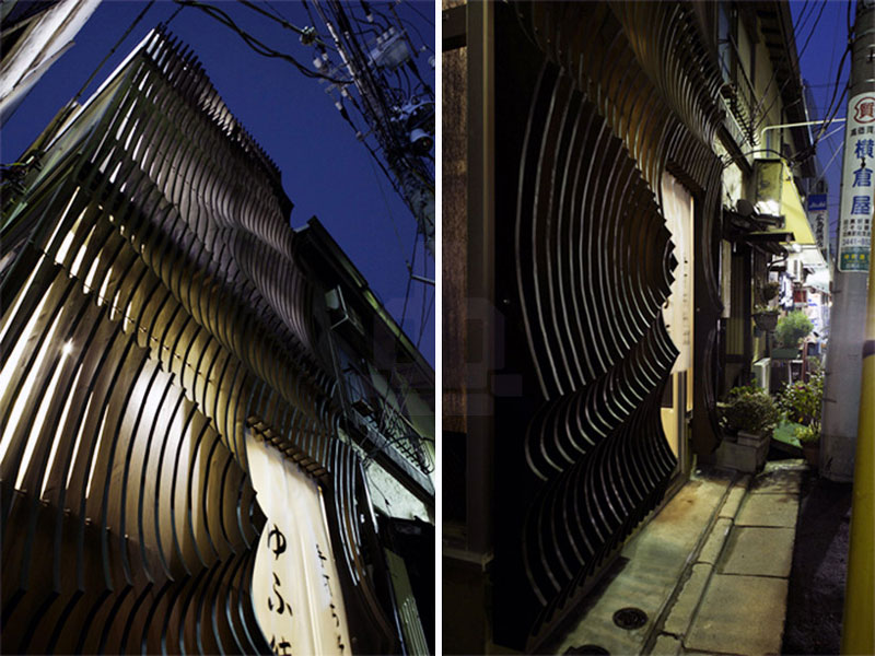 2 images of Yufutoku Restaurant from the outside at night
