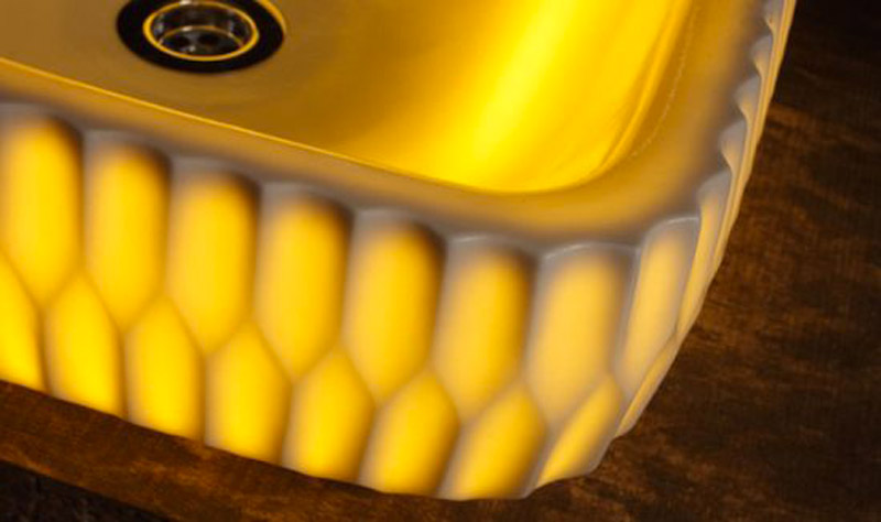 closeup view of an LED illuminated washbasin