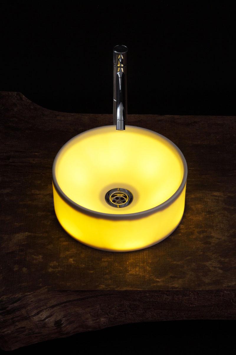 Circular LED Illuminated Ceramic Washbasin in the dark