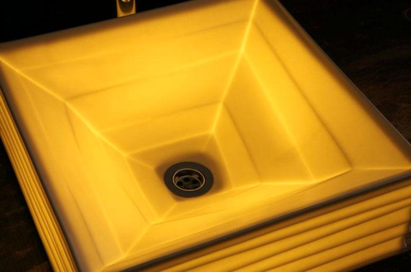 Square LED Illuminated Ceramic Washbasin in the dark