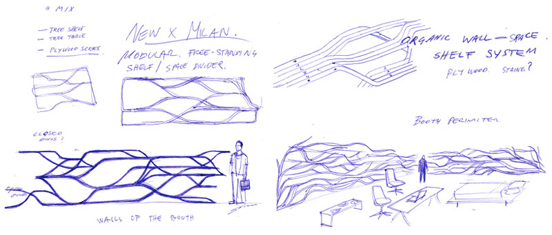 Sketches of the Metamorphosis Bookshelf by designer Sebastian Errazuriz