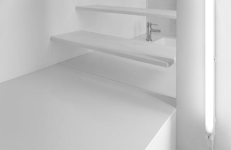 stairs in a micro studio apartment in Paris