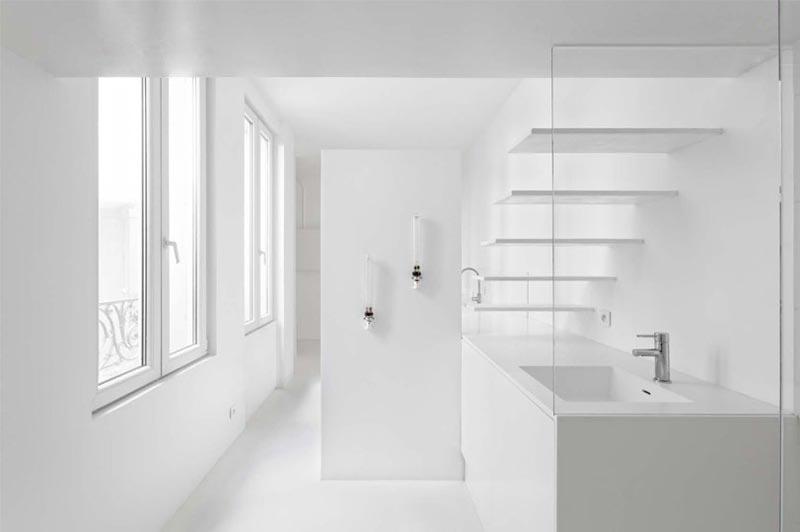 bathroom in a micro studio apartment in Paris