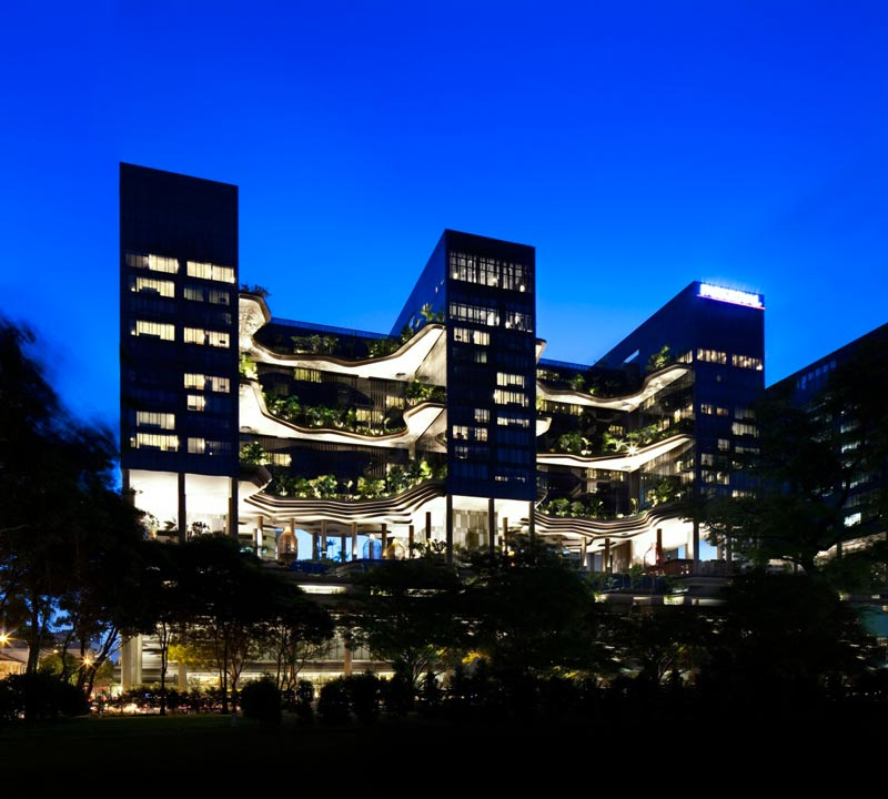 exterior view of the architecture at the Parkroyal Singapore