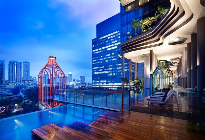 outdoor pool and view at the Parkroyal Singapore