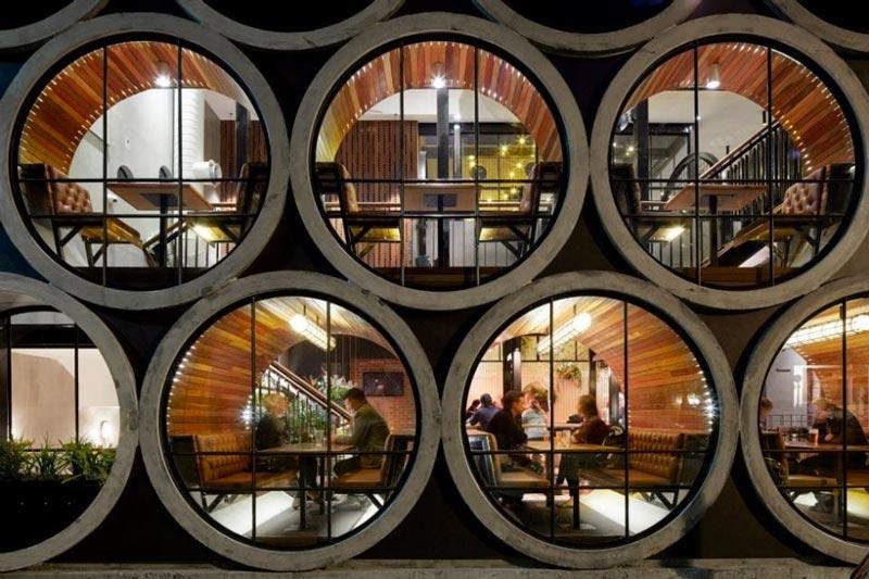 large pipe windows of Prahran Hotel in Victoria