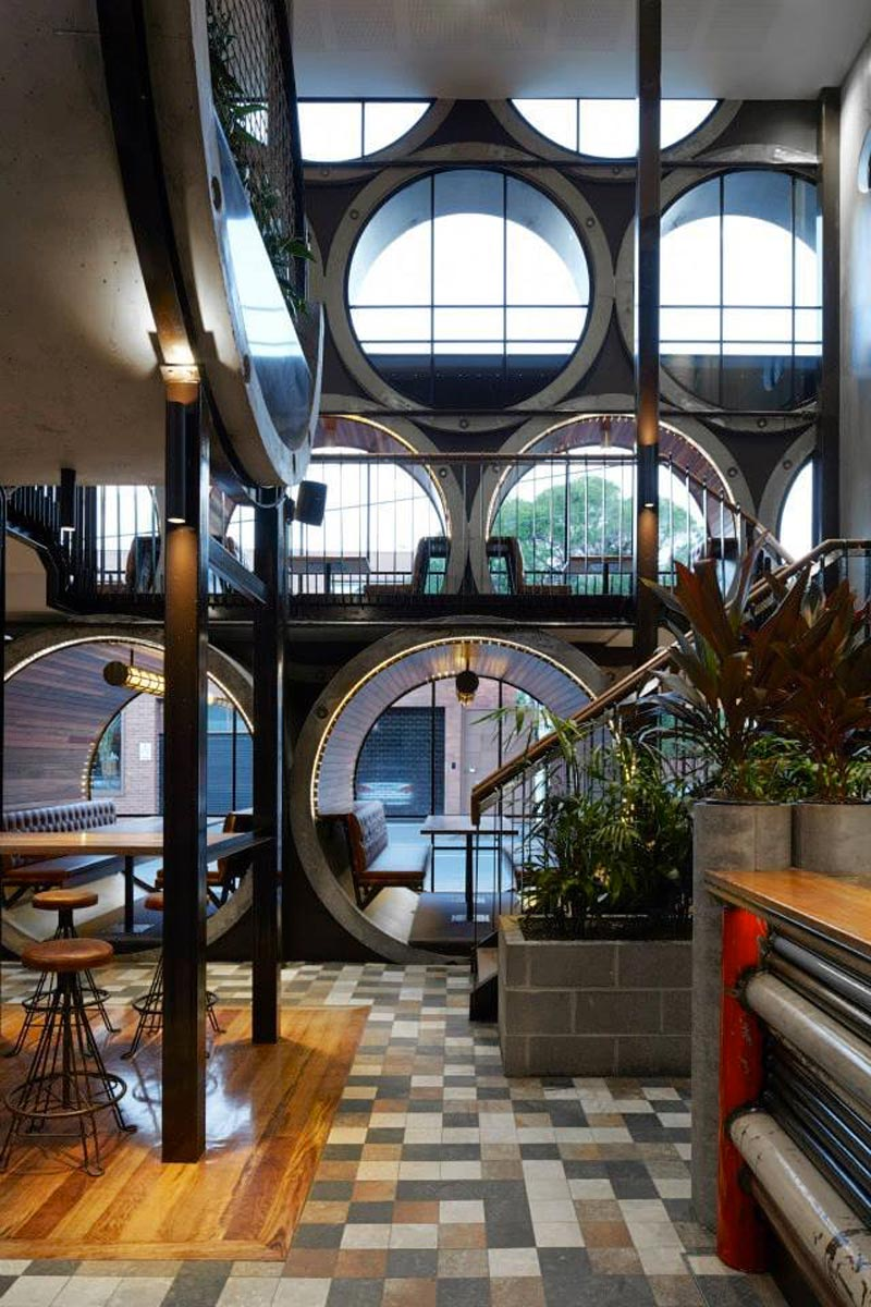 view of large pipe shaped windows at the Prahran Hotel