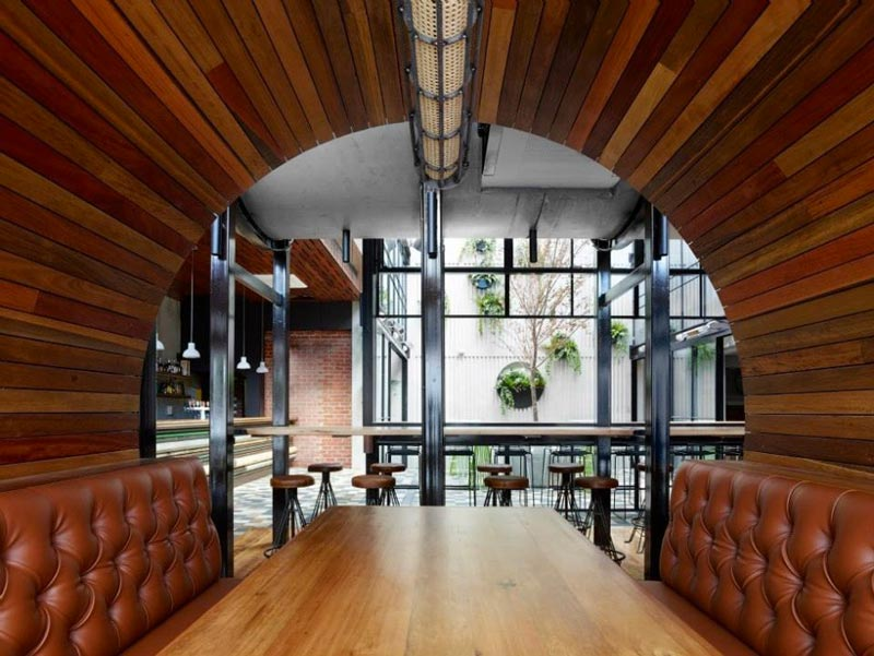 leather dining booth at Prahran Hotel in Victoria