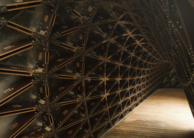 Interior view of the plywood boards at the SUTD Library Pavilion designed by City Form Lab
