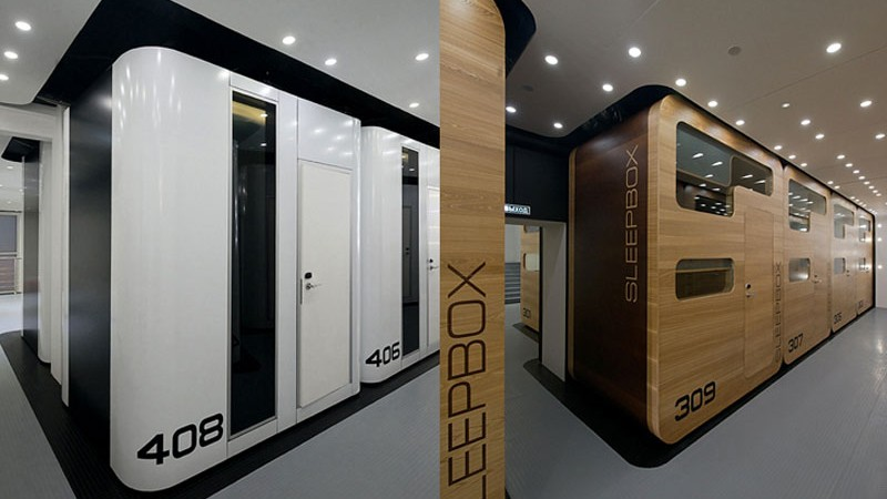 Exterior view of the two versions of the Sleepbox Mobile Hotel in Tverskaya