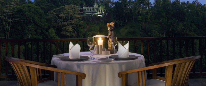 table and view at the restaurant at the Ubud Hanging Gardens